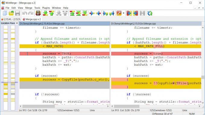 Phần mềm So sánh file code, file Văn bản WinMerge